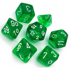 Green & White Translucent Polyhedral 7 Dice Set